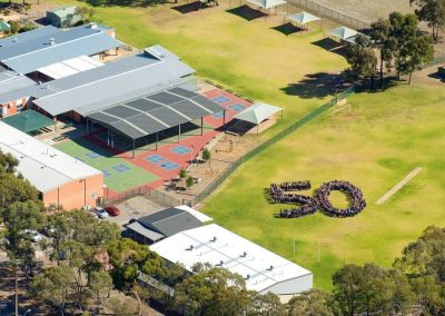 Aerial photo of the school and the 50th year celebration